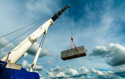 Truck and Crane in site for construction and blue sky Royalty Free Stock Images
