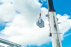 Truck and Crane in site for construction and blue sky Royalty Free Stock Photo