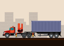 Truck crane trailer with cargo. Truck crane trailer with container cargo. Vector illustration on background Royalty Free Stock Photography
