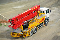 Truck crane. Working in an industrial site Stock Photos