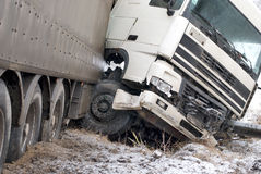 Truck crash. Big truck was crashed on winter road Royalty Free Stock Photo
