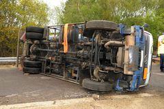 Truck crash roll over Royalty Free Stock Image
