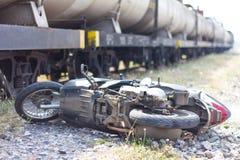 Truck crashes motorcycle. Stock Photos