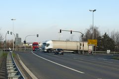 Truck on a crossing royalty free stock photo
