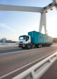 Truck crossing a bridge Royalty Free Stock Image