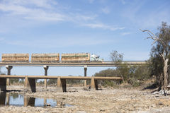 Truck crossing bridge outback Australia Stock Images