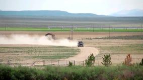 Truck is Crossing a Field stock video footage