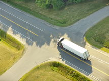 Truck at crossroads royalty free stock image