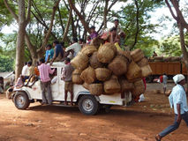 A truck crowded with people and baskets returns home Royalty Free Stock Images