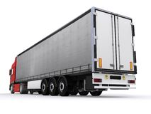 Truck with curtainside trailer Royalty Free Stock Photo