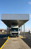 Truck on customs. Big white truck parked on customs scale on border Royalty Free Stock Images