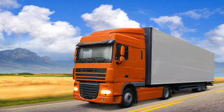 Truck DAF on highway. Truck DAF is moving rapidly to suburban highway vector illustration
