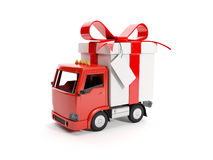 Truck delivering a gift Royalty Free Stock Image