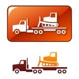 Truck delivers the bulldozer. Vector icon Stock Photos