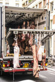 Truck delivers fresh pork Royalty Free Stock Photos