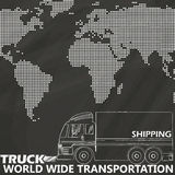Truck delivery on chalk board Royalty Free Stock Images