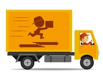 Truck delivery with driver Royalty Free Stock Photography