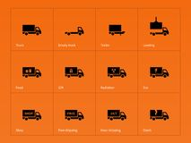 Truck and delivery icons on orange background Royalty Free Stock Photography