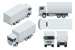 Truck delivery, lorry mock-up isolated template on white background. Isometric, side, front, back, top view. Truck delivery, lorry mock-up isolated template on royalty free illustration