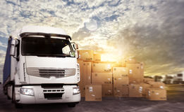 Truck in a deposit with packages ready to start Royalty Free Stock Images