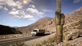 Truck On The Desert Route stock footage