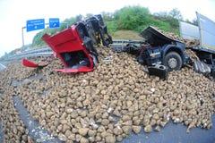 Truck destroy by turnips panaroma Royalty Free Stock Photo