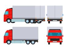 A truck from different directions. Vector flat illustration. Isolated objects on white background. Vector illustration. Painted in shape vector illustration