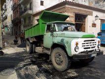 Truck discharging tar in Havana. Royalty Free Stock Image