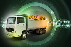 Truck with Dollar money in color background Royalty Free Stock Photography