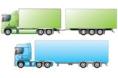 Truck double. European trucks with different trailers Stock Photo