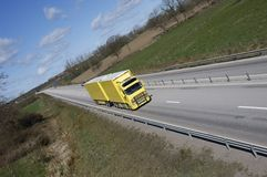 Truck driv on highway-straight Royalty Free Stock Images