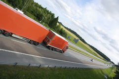 Truck drive in extreme angle Royalty Free Stock Photography