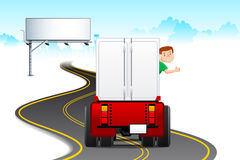 Truck Driver. Illustration of truck driver driving on highway with bill board Royalty Free Stock Images