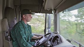 Truck Driver in the Car stock footage