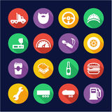 Truck Driver Icons Flat Design Circle stock illustration
