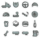 Truck Driver Icons Freehand 2 Color vector illustration