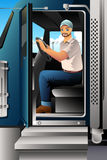 Truck Driver Inside of His Truck Royalty Free Stock Image
