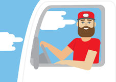 Truck driver occupation – flat vector illustration Stock Images