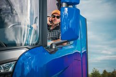 Truck Driver Phone Call royalty free stock photos
