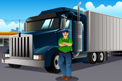 Truck Driver Standing in Front of His Truck Stock Photo