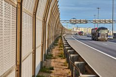 Truck drives along ring road in Saint Petersburg, Russia stock photography