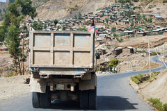 Truck drives in the Ethiopian Highlands. Stock Image
