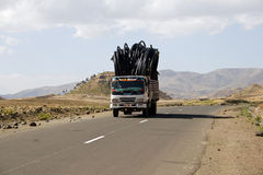 Truck drives with goods on Ethiopian Highlands. Royalty Free Stock Photography