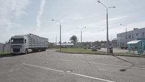 The truck drives onto parking stock video