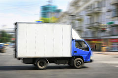 Truck driving on city Royalty Free Stock Image