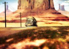 Truck driving by the desert. Tank truck on a road of Monument Valley Utah, under the heat of the sun Stock Image