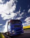 Truck driving at dusk/motion blur Stock Image