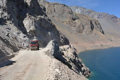 Truck driving at the Embalse el Yeso, Chile stock images