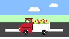 Truck driving on the freeway, transportation flowers, animation. Cartoon stock footage