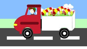 Truck driving on the freeway, transportation flowers, animation. Cartoon stock video